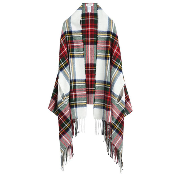 MUDPIE- WHITE TARTAN PLAID SCARF WRAP