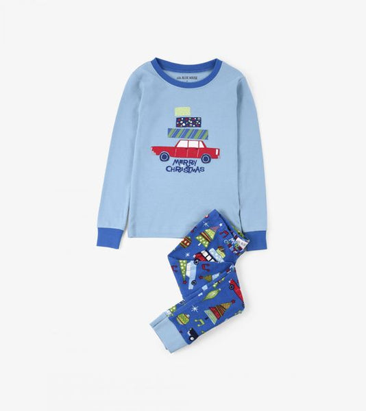 HATLEY- Retro Festive Blue Kids' Pajama Set