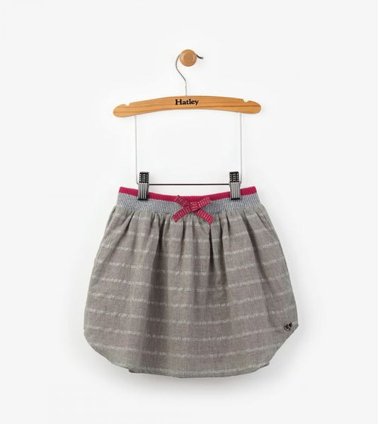 HATLEY- Kids Glittering Silver Striped Skirt