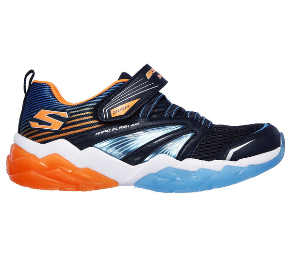 SKECHERS - YOUTH RAPID FLASH 2.0 NAVY/ORANGE