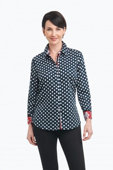 "FOXCROFT- ""Ava"" Wrinkle Free Shirt in Dots with Paisley"