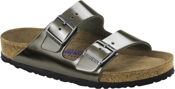 BIRKENSTOCK- WOMEN'S ARIZONA SOFT | LEATHER | METALLIC ANTHRACITE
