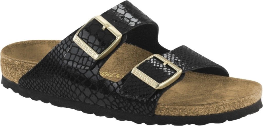 BIRKENSTOCK- WOMEN'S ARIZONA | BIRKO-FLOR | SHINY SNAKE BLACK
