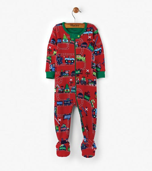 HATLEY- Magical Christmas Train Organic Cotton Baby Footed Coverall