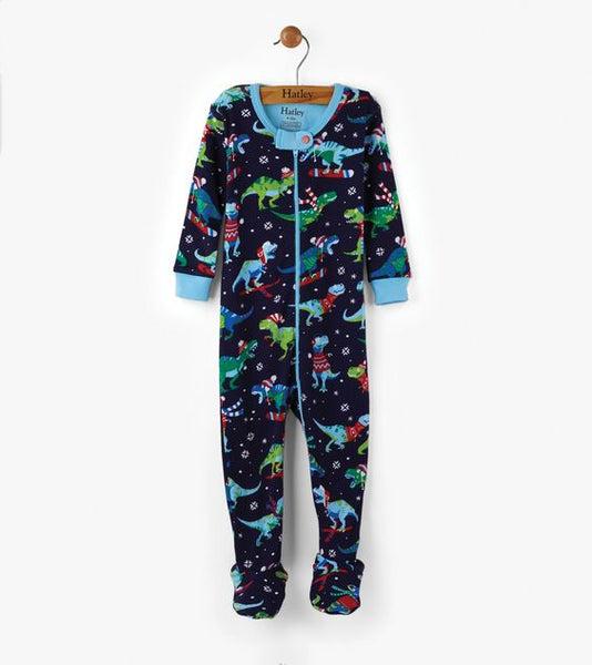 HATLEY- Winter Sports T-Rex Organic Cotton Baby Footed Coverall