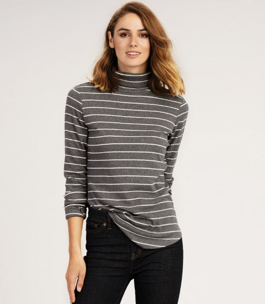HATLEY- CHARCOAL STRIPES LONG SLEEVE TOP