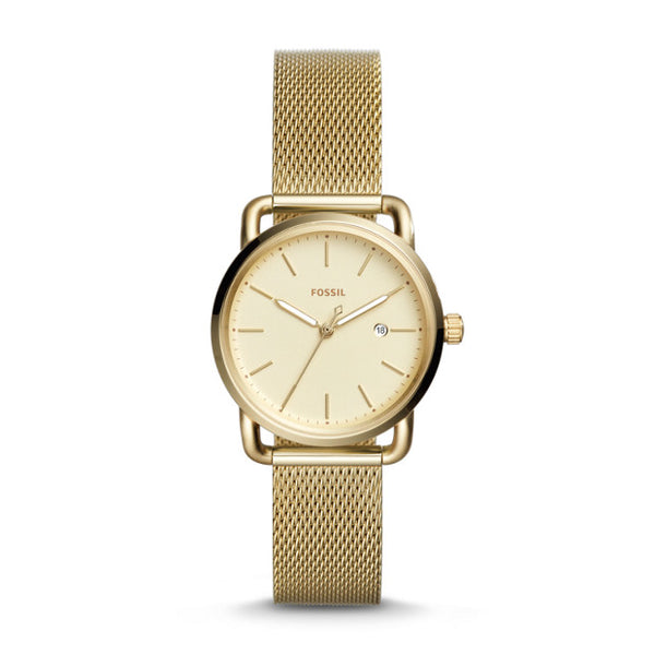 FOSSIL- THE COMMUTER THREE-HAND DATE GOLD-TONE STAINLESS STEEL WATCH