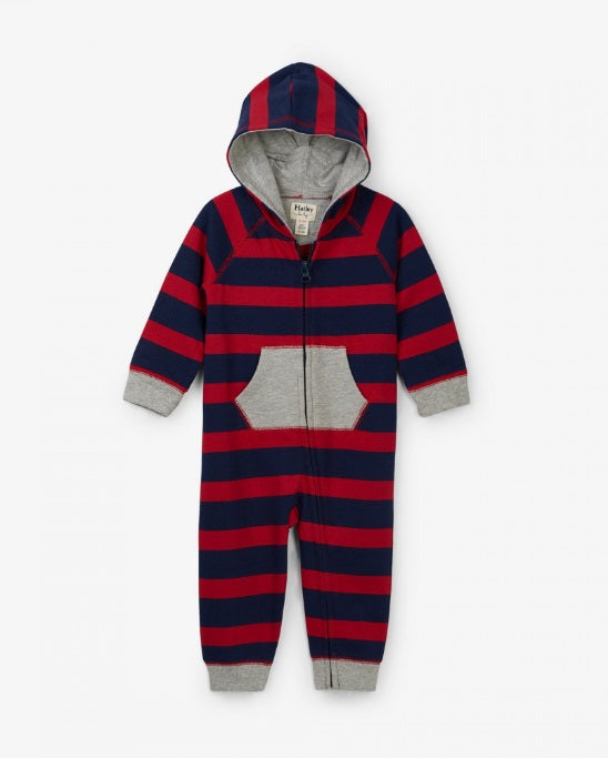HATLEY- CRIMSON STRIPE HOODED BABY ROMPER