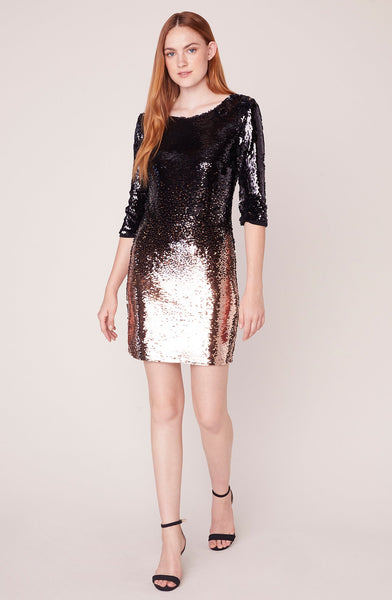 BB DAKOTA- OMBRE YOU STAY OMBRE SEQUIN DRESS