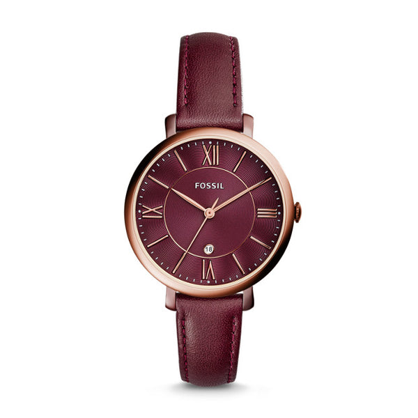 FOSSIL- JACQUELINE THREE-HAND DATE WINE LEATHER WATCH