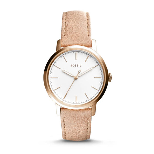 FOSSIL- NEELY THREE-HAND SAND LEATHER WATCH