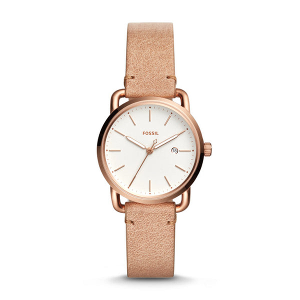 FOSSIL- THE COMMUTER THREE-HAND DATE SAND LEATHER WATCH