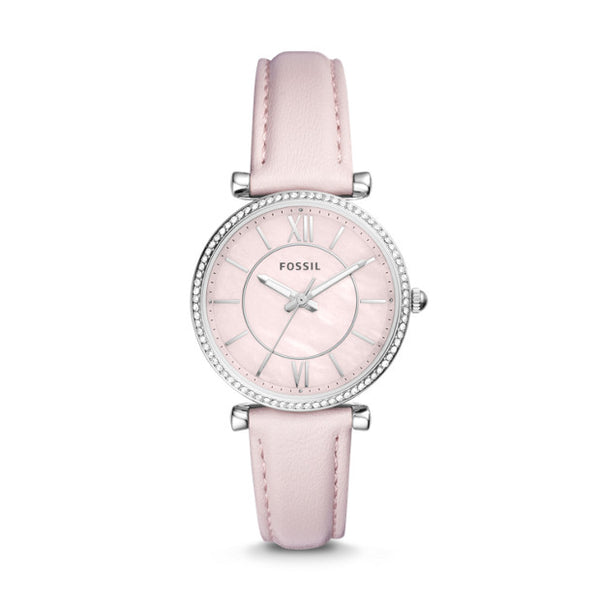 FOSSIL- CARLIE THREE-HAND PASTEL PINK LEATHER WATCH