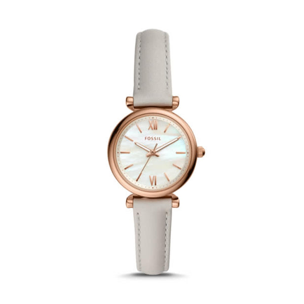 FOSSIL- CARLIE MINI THREE-HAND MINERAL GRAY LEATHER WATCH