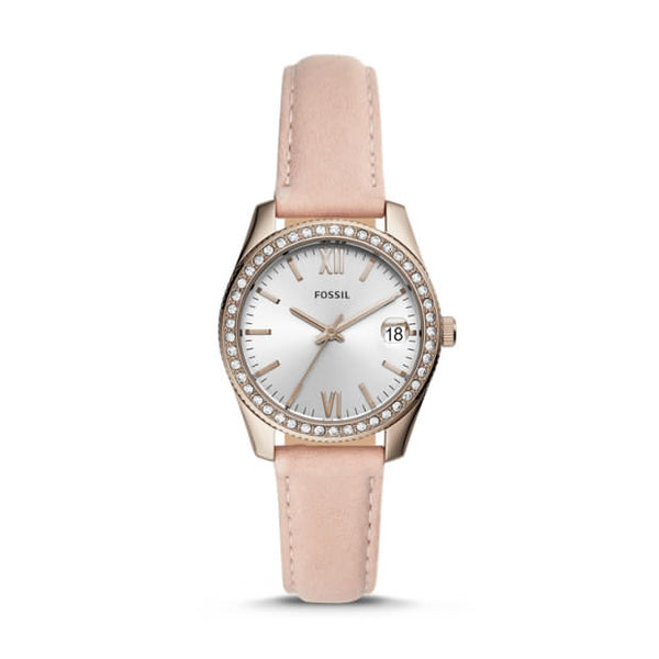 FOSSIL- SCARLETTE MINI THREE-HAND DATE BLUSH LEATHER WATCH
