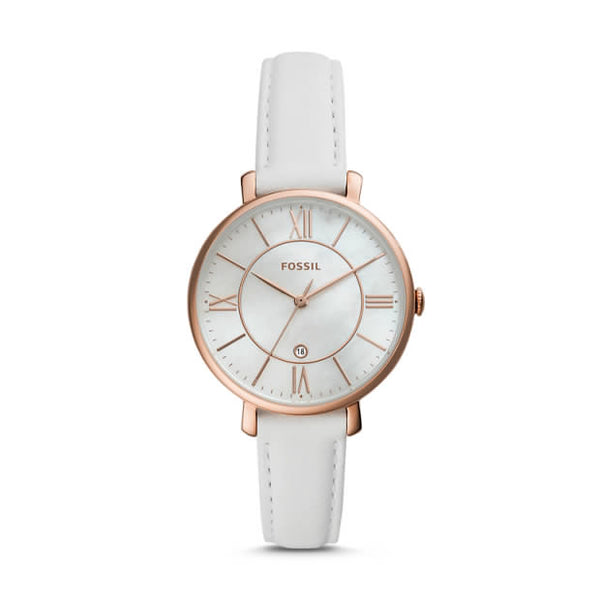 FOSSIL- JACQUELINE THREE-HAND DATE WHITE LEATHER WATCH
