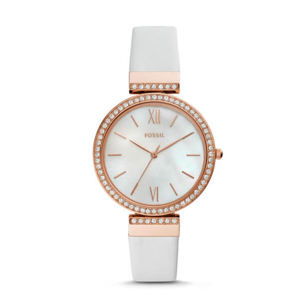 FOSSIL- MADELINE THREE-HAND WHITE LEATHER WATCH