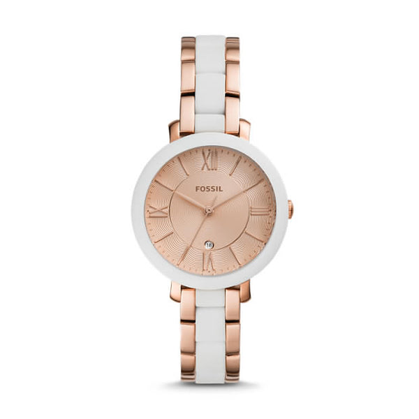 FOSSIL- JACQUELINE THREE-HAND DATE ROSE GOLD-TONE STAINLESS STEEL WATCH