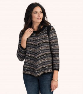 HATLEY-Charcoal Chevron Stripes Chelsie Sweater