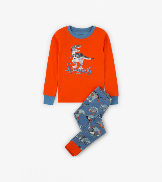 HATLEY-Sleepasaurus Organic Cotton Appliqué PJ SET