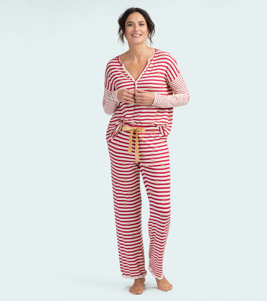 HATLEY- LITTLE BLUE HOUSE- SNOWFLAKE STRIPED COZY LOUNGE BOTTOMS
