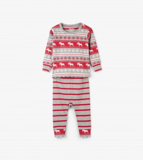 HATLEY-Fair Isle Moose Organic Cotton Baby Pajama Set 2 PC PJ