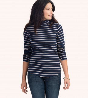 HATLEY-Navy and Camel Stripes Turtleneck
