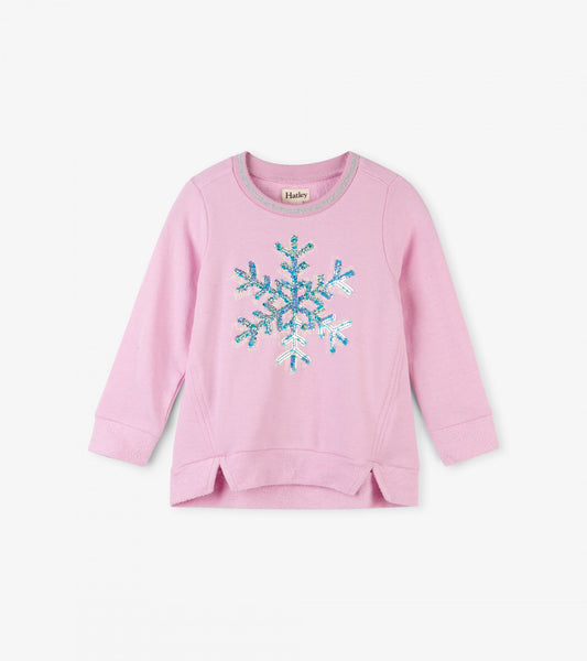 HATLEY- LITTLE BLUE HOUSE- SEQUINED SNOWFLAKE LONG SLEEVE PULLOVER