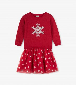 HATLEY-Glitter Snowflake Drop Waist Dress