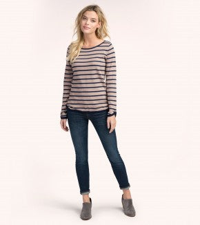 HATLEY-Camel and Navy Stripes Breton Top