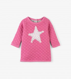 HATLEY-Pink Star Quilted Baby Dress