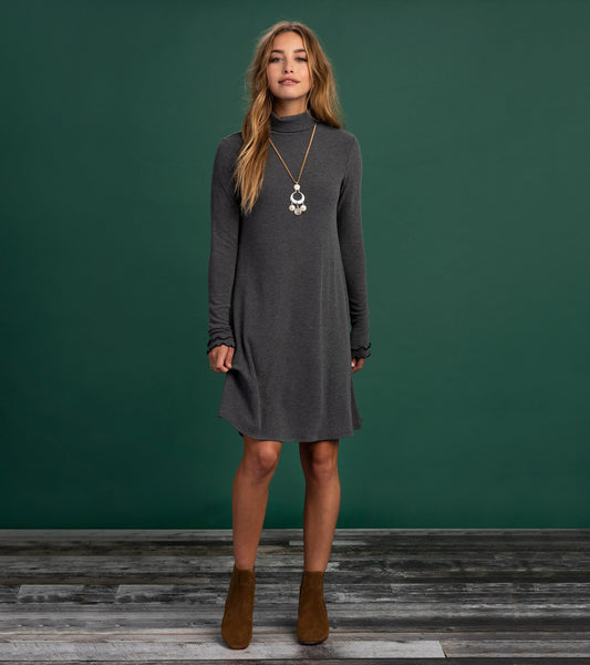 HATLEY- TURTLENECK DRESS- CHARCOAL