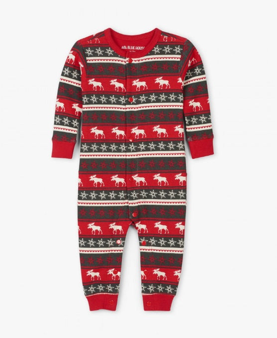HATLEY- FAIR ISLE MOOSE BABY UNION SUIT