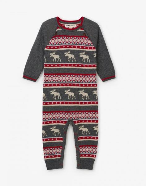 HATLEY- FAIR ISLE MOOSE BABY SWEATER ROMPER