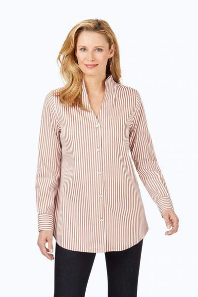 FOXCROFT- CENA STRETCH NON-IRON SATEEN STRIPE TUNIC