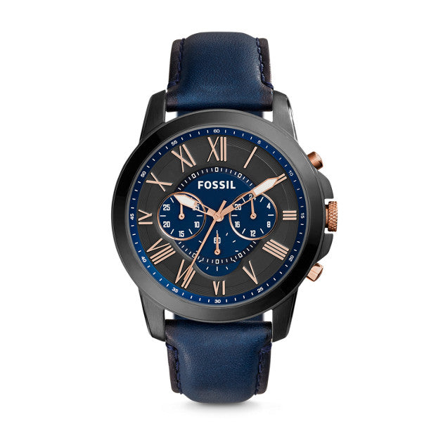 FOSSIL- GRANT CHRONOGRAPH NAVY LEATHER WATCH