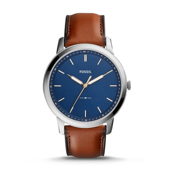 FOSSIL- THE MINIMALIST SLIM THREE-HAND LIGHT BROWN LEATHER WATCH