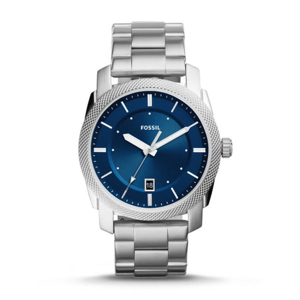 FOSSIL- MACHINE THREE-HAND DATE STAINLESS STEEL WATCH