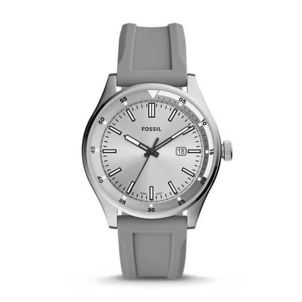 FOSSIL- BELMAR THREE-HAND DATE GRAY SILICONE WATCH