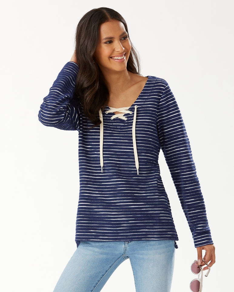 TOMMY BAHAMA- FRENCH TERRY STRIPE LACE-UP TUNIC (more colours)