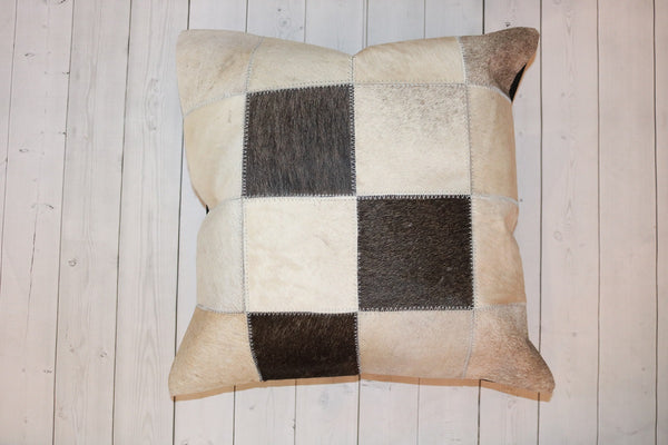 Cowhide Patchwork Pillow