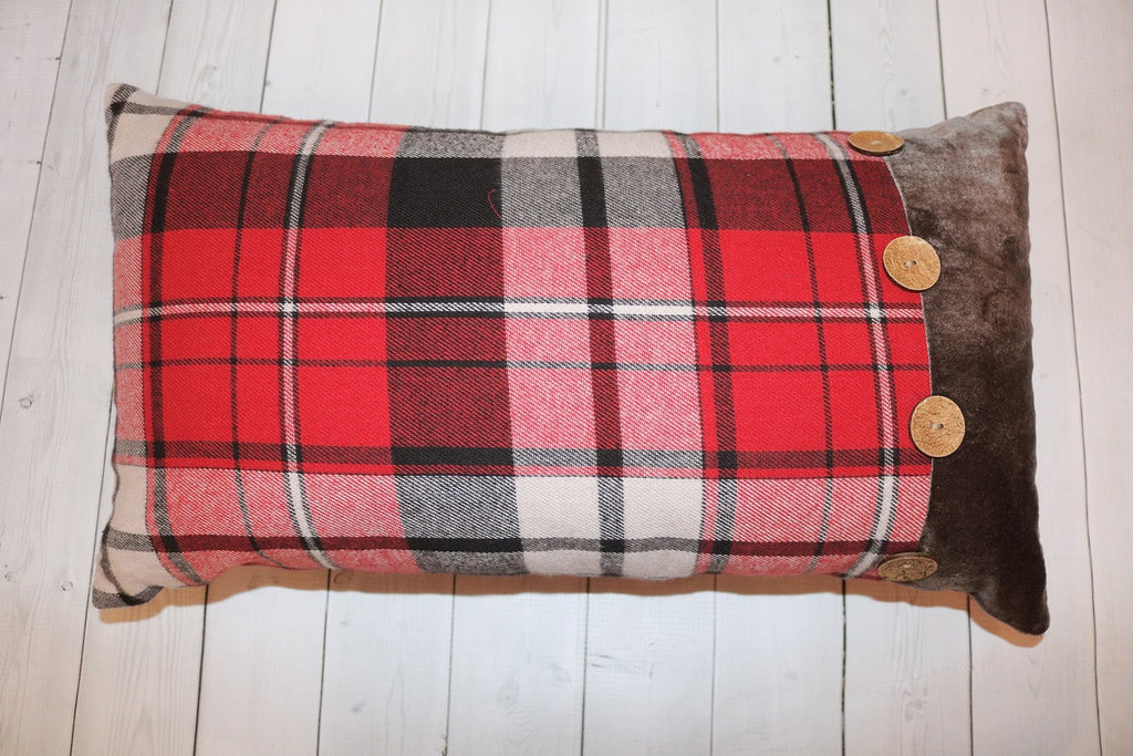 Small Red Plaid Throw Pillow