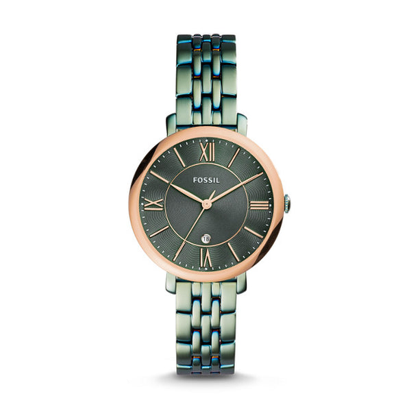 FOSSIL- JACQUELINE THREE-HAND DATE ALPINE GREEN STAINLESS STEEL WATCH