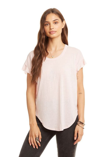 CHASER- VINTAGE JERSEY DROP SHOULDER FLUTTER SLEEVE SHIRTTAIL TEE (more colours)