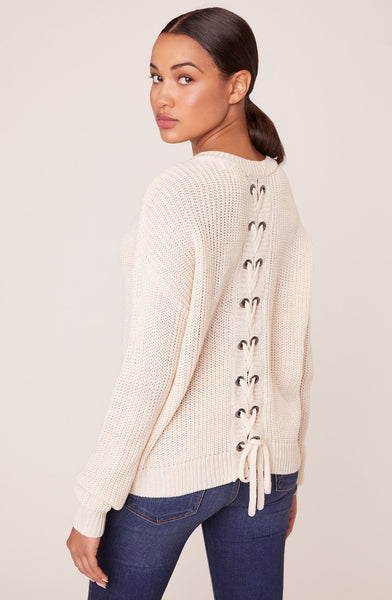 JACK BY BB DAKOTA- TIE ME LATER SWEATER WITH BACK LACE UP