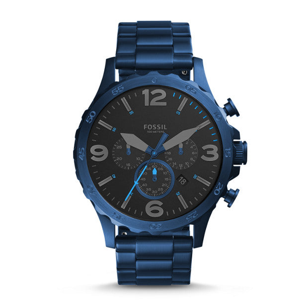 FOSSIL- NATE 50MM CHRONOGRAPH BLUE STAINLESS STEEL WATCH