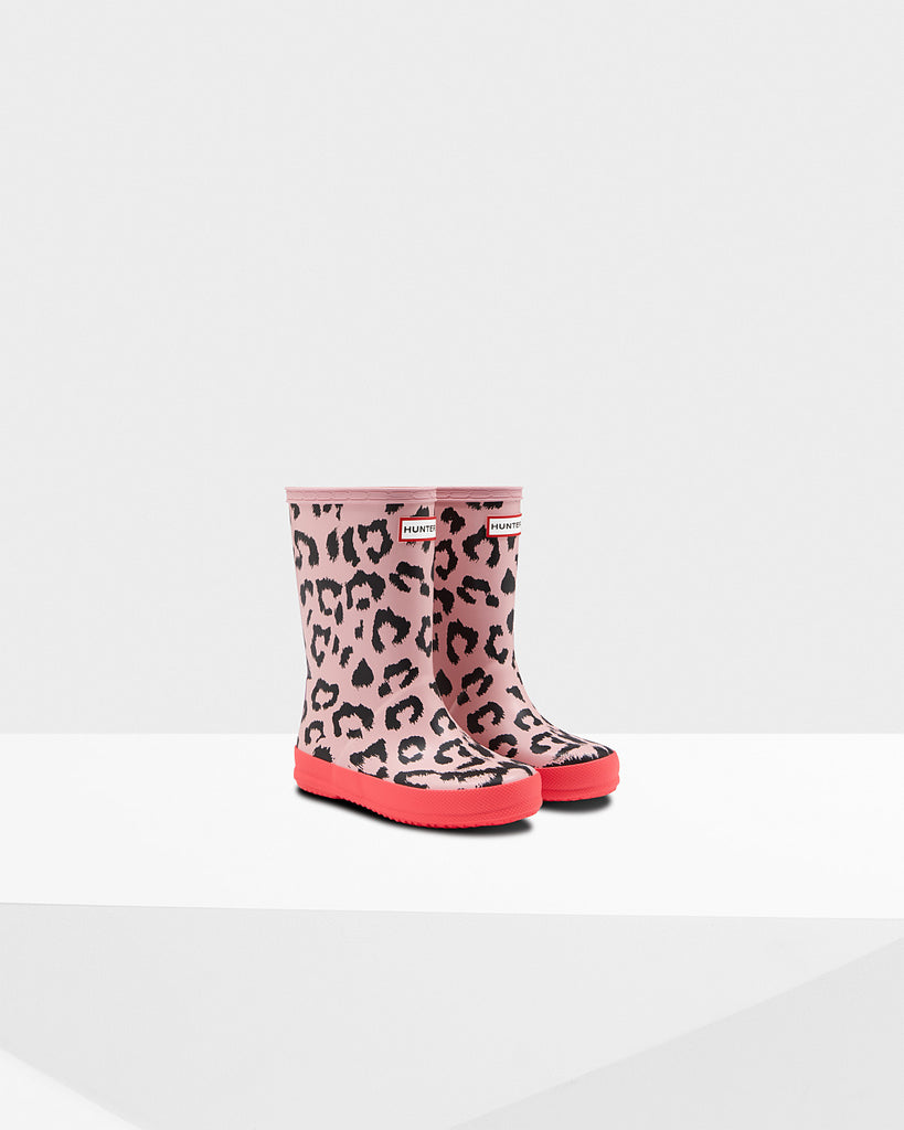 HUNTER- ORIGINAL KIDS FIRST CLASSIC LEOPARD PRINT RAINBOOTS