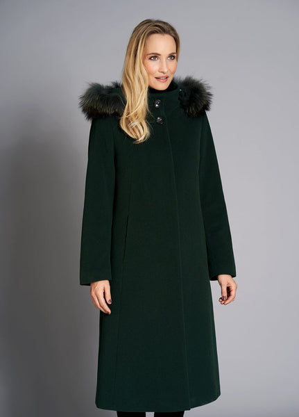 JUNGE- WOOL COAT WITH FUR