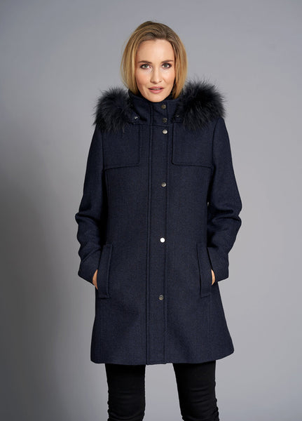 JUNGE- WOOL JACKET WITH FUR