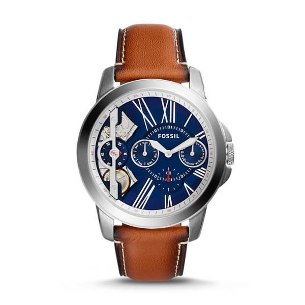 FOSSIL- GRANT TWIST THREE-HAND LUGGAGE LEATHER WATCH